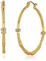 T Tahari Half Hammered Hoop Earrings