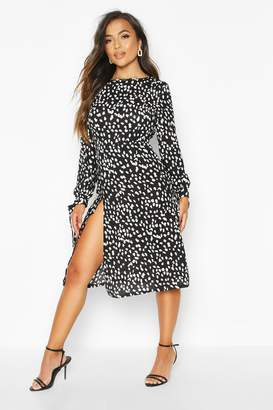 boohoo Petite Smudge Spot Print Tie Fit & Flare Midi Dress