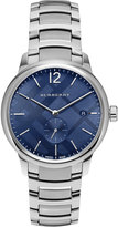 Burberry 40mm Classic Round Bracelet Watch w/ Check Dial, Silver/Blue