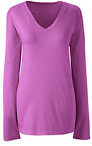Lands' End Women's Relaxed Supima V-neck T-shirt-Sweet Lilac