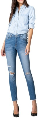 Flying Monkey Mid Rise Distressed Crop Skinny Jeans