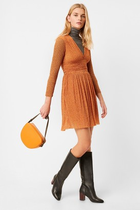 French Connection Tabia Pleated Jersey V Neck Dress