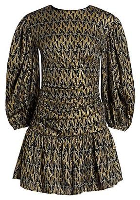 Rhode Resort Donna Metallic Print Puff-Sleeve Mini Dress