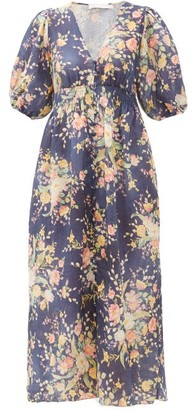 Zimmermann Zinnia Floral Print Linen Dress - Blue Print