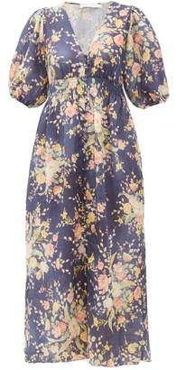 Zimmermann Zinnia Floral Print Linen Dress - Womens - Blue Print