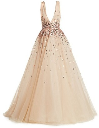 Monique Lhuillier Sleeveless Embroidered Tulle Ball Gown