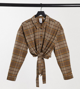 Collusion Plus wrap shirt in brown check co