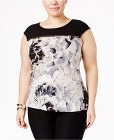 Calvin Klein Plus Size Floral Zipper Top