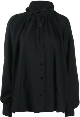 MM6 MAISON MARGIELA Ruched-Collar Long-Sleeve Blouse