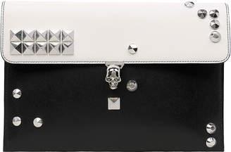 Alexander McQueen Skull Two-Tone Envelope Leather Clutch
