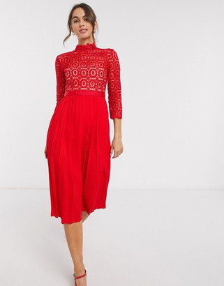 Little Mistress lace and pleat skater dress in red