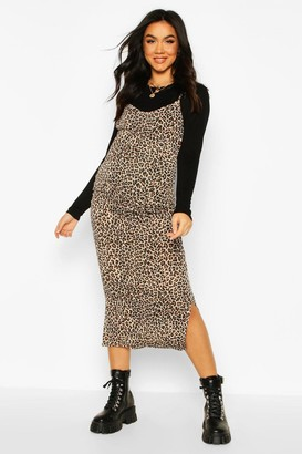 boohoo Maternity Leopard Print Midi 2 In 1 Slip Dress