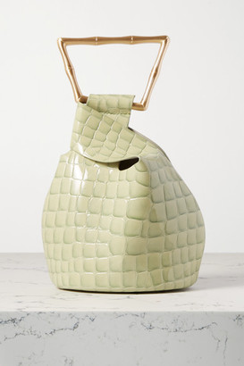 Cult Gaia Astraea Mini Croc-effect Leather Tote - Green