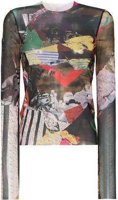 Marques Almeida Graphic-Print Mesh Top