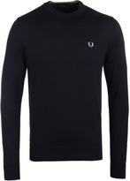 Fred Perry Classic Navy Cotton Knit Crew Neck Sweater