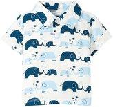 Kickee Pants Printed Polo Tee (Baby) - Bubble Elephant - New Born