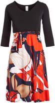 Glam Black & Red Floral A-Line Dress