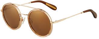 BCBGMAXAZRIA Round Metal/Acetate Sunglasses