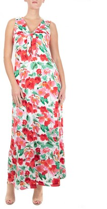 Nina Leonard V-Neck Tie Front Maxi Dress