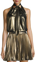 Haute Hippie Metallic Tie-Front Halter Top, Gold