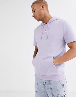 Asos Design DESIGN short sleeve hoodie in lilac-Purple
