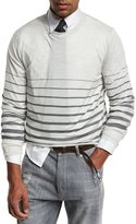 Brunello Cucinelli Striped Fine-Gauge Crewneck Sweater, Gray