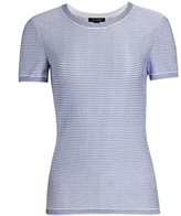 St. John Stripe Knit Short-Sleeve Top