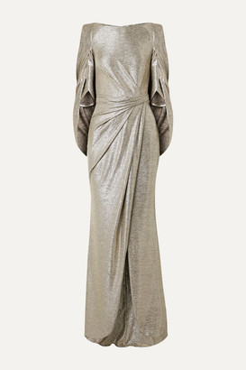 Talbot Runhof Socrates Cape-effect Draped Metallic Stretch-jersey Gown - Gold