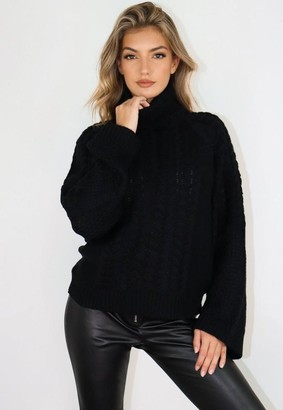 Missguided Black Wide Sleeve Cable Knit Turtle Neck Sweater