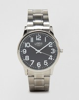 Limit Silver Bracelet Watch With Black Dial Exclusive To Asos
