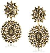 Yochi Pearl Chandelier Stone Burst 14k Gold Plated Earrings