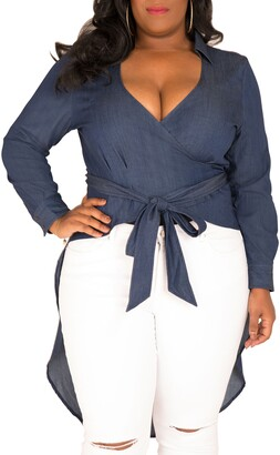 Poetic Justice Randa Wrap Denim Fishtail Top