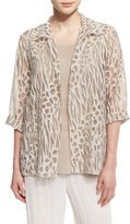 Caroline Rose 3/4-Sleeve Animal-Print Burnout Jacket, Natural, Petite