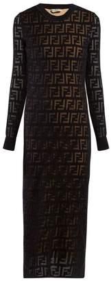 Fendi Ff-jacquard Midi Dress - Womens - Navy