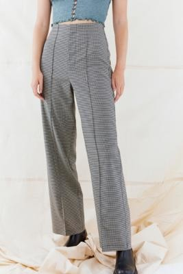 Urban Outfitters Mono Check High-Waisted Puddle Trousers - Black XS at