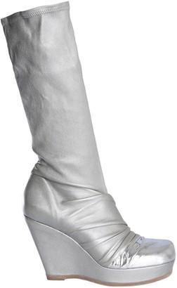 Rick Owens Metallic Wedge Heel Boots