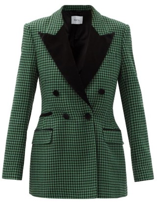 Racil Double-breasted Wool-blend Houndstooth Jacket - Black Green