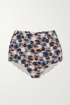 Marysia Swim Santa Monica Scalloped Printed Bikini Briefs - Blue