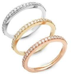 Effy Three-Piece Diamond and 14K Gold Stackable Ring Set