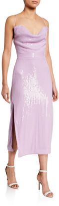 Misha Collection Devon Sequin Cowl-Neck Midi Dress