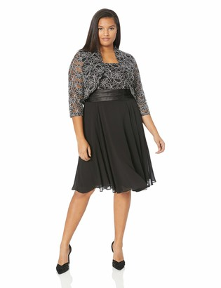 Jessica Howard JessicaHoward Plus Size Womens Fit and Flare Bolero Jacket Dresss with Tucked Waist