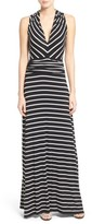 Vince Camuto Petite Women's Stripe V-Neck A-Line Maxi Dress