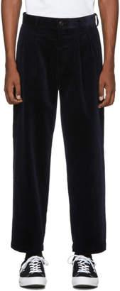 Noah NYC Navy Corduroy Double-Pleat Trousers