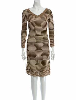 Missoni Striped Knee-Length Dress Gold