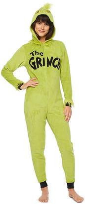 Asstd National Brand Grinch Womens Fleece Long Sleeve Hooded Neck One Piece Pajama - Juniors