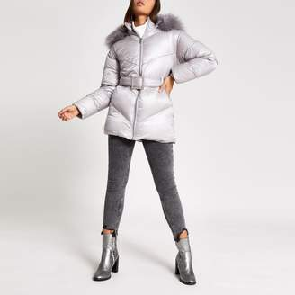 River Island Womens Grey diamante embellished puffer jacket