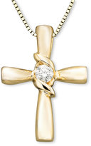 Sirena Diamond Cross Pendant in 14k Yellow or White Gold (1/10 ct. t.w.)