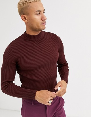 Asos DESIGN muscle fit ribbed turtleneck sweater in burgundy