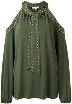 Michael Kors cold-shoulder tie blouse