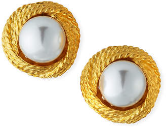 Kenneth Jay Lane Pearly Cable Clip-On Earrings